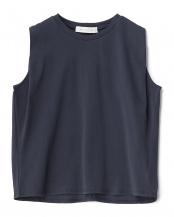 NAVY  ミニマルサイドタックノースリーブTシャツ