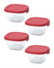 レッド  耐熱ミニ角小鉢4個セット