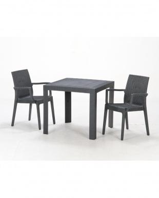 ブラック  ステラ テーブル 80cm 角見る