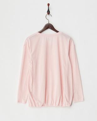 ピンク  リネン混長袖プルオーバー見る