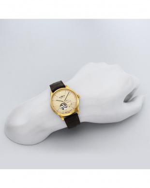 アイボリー  Flat Line オープンハート自動巻腕時計見る