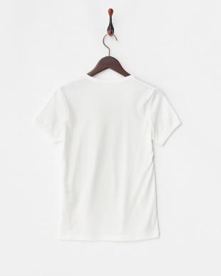 ホワイト フライスUネックTシャツ見る