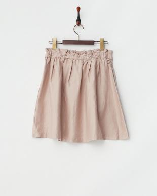 ピンク  コットンリネン アシメタックフレアスカート見る
