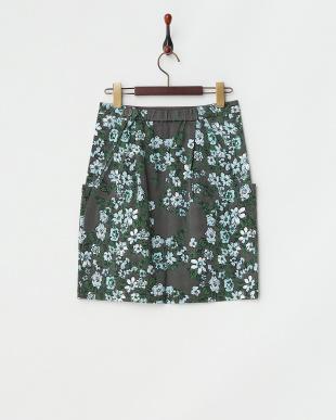チャコール フラワープリントスカート見る