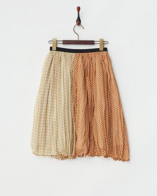 オレンジ ドット×チェック シフォンギャザースカート見る