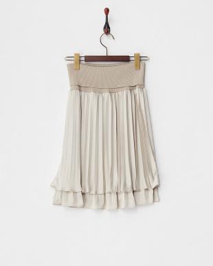ベージュ  チリメンサテン リブ付きプリーツスカート見る