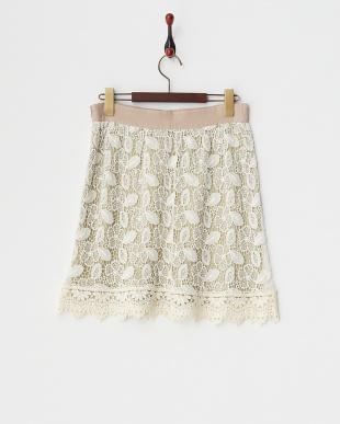 ベージュ  フラワーレースレイヤードスカート見る