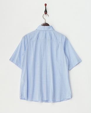 ブルー フリルプラケット2WAYシャツ見る