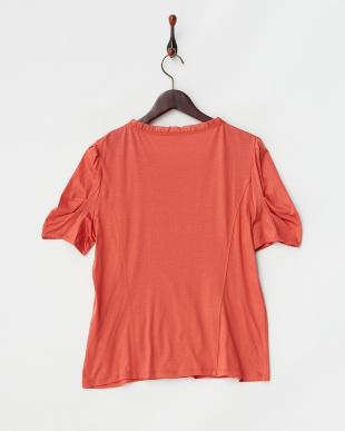 レッドオレンジ リヨセルコットン60/2ギザ天竺デコレートTシャツ L見る