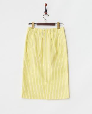マスタード  ストライプタイトスカート見る