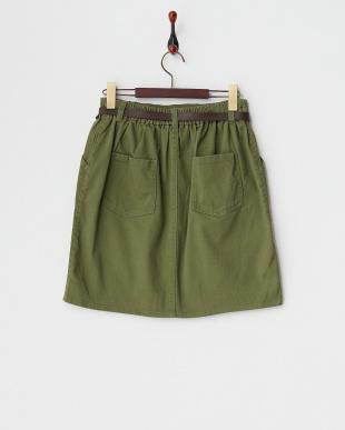 カーキ  ベルト付きタイトスカート見る