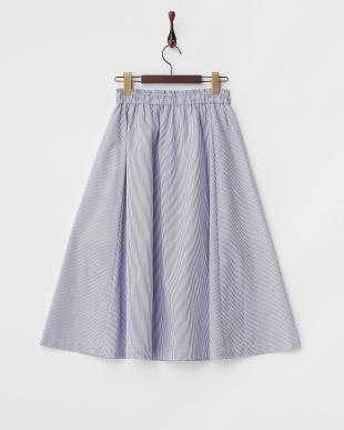 ネイビー  T/Cブロードストライプギャザースカート見る