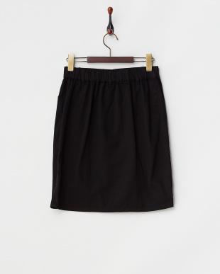 ブラック  フロントボタン台形スカート見る