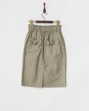 カーキ  バックリボンタイトスカート見る