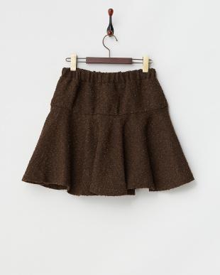 ブラウン  リング糸ぺプラムミニスカート見る