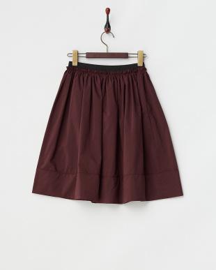 ダークレッド  ひざ丈ギャザースカート見る