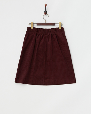 ダークレッド  コールテン台形ひざ丈スカート見る