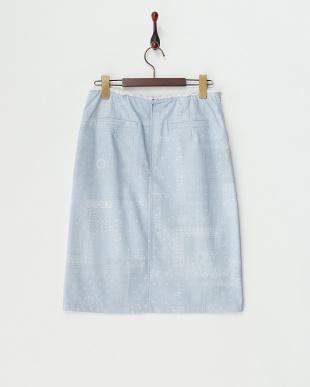 サックス  ペイズリー柄バックジップストレートスカート見る