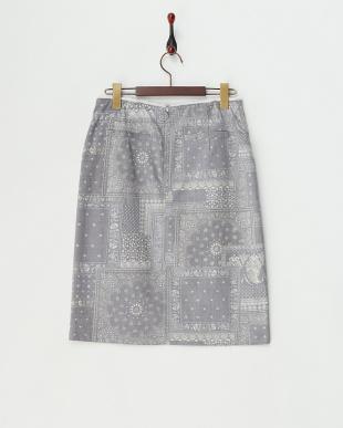 インディゴ  ペイズリー柄バックジップストレートスカート見る