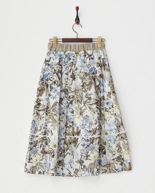ブルー  ボタニカル柄コットンフレアスカート見る