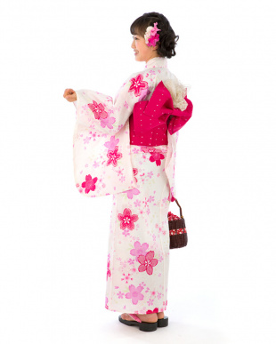 ホワイト系 桜 スクール浴衣+造り帯+下駄|GIRL見る