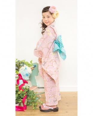 ピンク系  Sahoコラボ ドットリボン 浴衣+兵児帯|KIDS見る