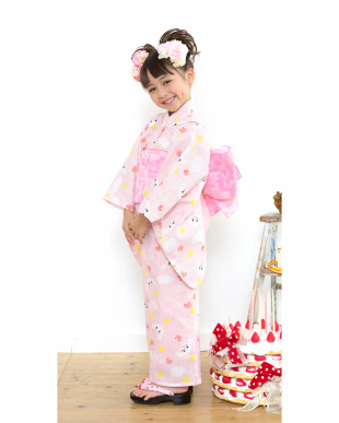 ピンク系 Sahoコラボ ヒツジ 浴衣+兵児帯|KIDS見る