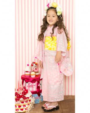 ピンク系  Sahoコラボ 手描き風ドット×ストライプ 浴衣+兵児帯|KIDS見る