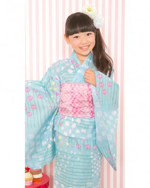 ブルー系  Sahoコラボ 手描き風ドット×ストライプ 浴衣+兵児帯|KIDS見る