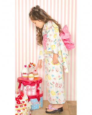 ホワイト系 Sahoコラボ 小花×鳥 浴衣+兵児帯|KIDS見る