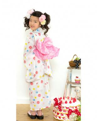 ホワイト系 Sahoコラボ しゃぼん×金魚 浴衣+兵児帯|KIDS見る