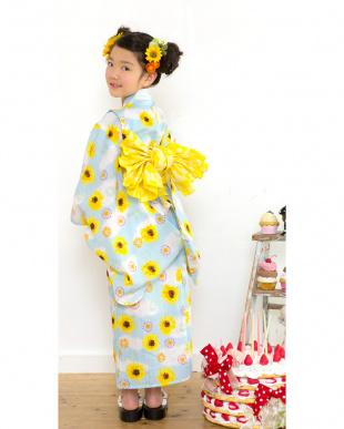 ブルー系 Sahoコラボ ヒマワリ 浴衣+兵児帯|KIDS見る