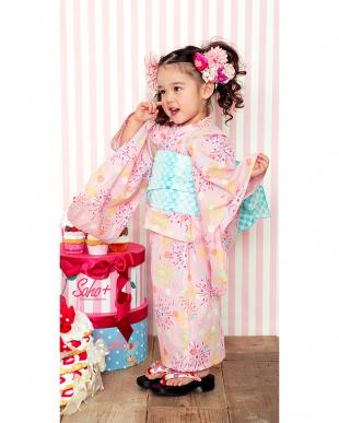 ピンク系 Sahoコラボ 花火 浴衣+兵児帯|KIDS見る