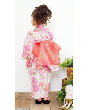 ピンク系 Sahoコラボ マリ×バラ×ストロベリー 浴衣+兵児帯見る