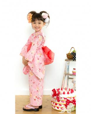 ピンク系 Sahoコラボ ケーキ×リボン 浴衣+兵児帯見る