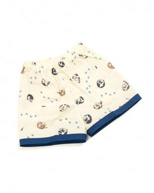 クリーム系  ネコ 子供二重ガーゼ甚平|BABY見る