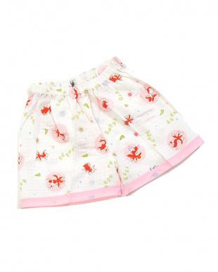ホワイト×ピンク系  金魚 子供二重ガーゼ甚平|BABY見る