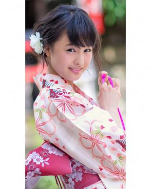 ホワイト系 桜×櫛 浴衣+造り帯+下駄 3点セット|WOMEN見る