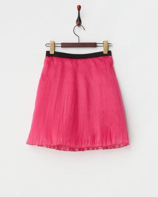 ピンク  シャイニーオーガンジー プリーツスカート見る