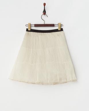 ベージュ  シャイニーオーガンジー プリーツスカート見る