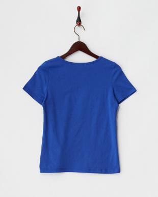 ブルー  ビーズ装飾 半袖カットソー見る