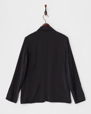 BLACK サテン フロントオープンジャケット見る