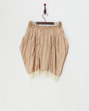 ベージュ  裾レース サテンコクーンスカート見る