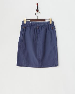 ブルー  コットンストレッチサイドベルトスカート見る
