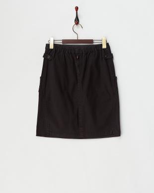 ブラック  コットンストレッチサイドベルトスカート見る