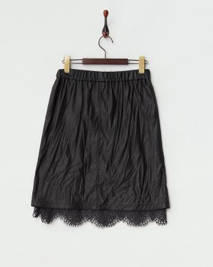 ブラック  裾レース フェイクレザースカート見る