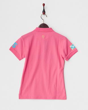 ピンク  胸ロゴプリントポロ|WOMEN見る