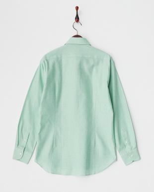 ライトグリーン カラミ織ワイドスプレッドカラーコットンシャツ見る