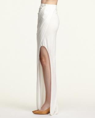 white スラックジャージーロングスカート見る