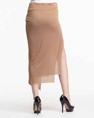 orange スラックジャージー レイヤードスカート見る